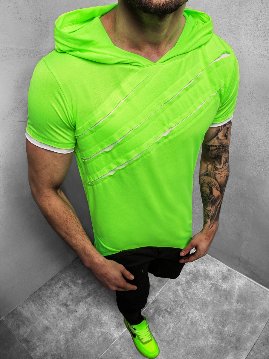herren t-shirt mit kapuze grün-neon ozonee a/1185xz | ozonee