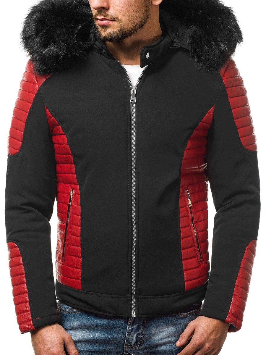 winter jacke schwarz rot